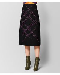Bottega Veneta - Nero/grape Wool Skirt - Lyst