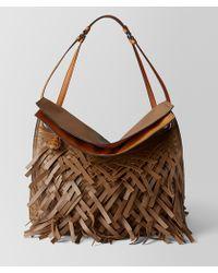 Bottega Veneta - Dark Leather Intrecciato Fringe Tote - Lyst