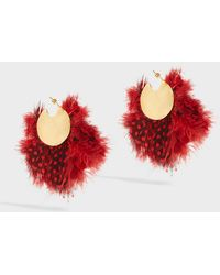 Katerina Makriyianni - Gold-tone Feather Earrings, Size Os, Women, Red - Lyst
