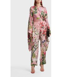 For Restless Sleepers - Etere Printed Silk Trousers - Lyst