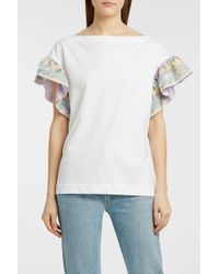Emilio Pucci - Printed Silk Twill-trimmed Cotton-jersey T-shirt - Lyst