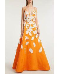 Oscar de la Renta - Appliquéd Silk-faille Gown, Size Us8, Women, Orange - Lyst