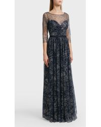 Notte by Marchesa - Glitter Tulle Gown, Size Us10, Women, Navy - Lyst
