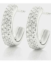 Monica Vinader - Fiji Mini Hoop Diamond Earrings, Size Os, Women, Silver - Lyst