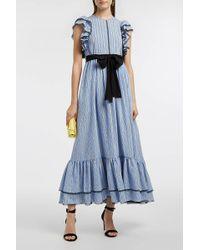 MSGM - Striped Crepe De Chine Dress, Size It42, Women, Blue - Lyst