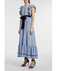 MSGM - Striped Crepe De Chine Dress, Size It44, Women, Blue - Lyst