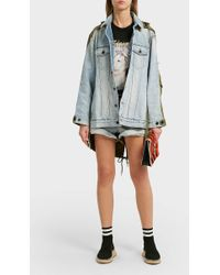 Alexander Wang - Hike Distressed Denim And Cotton Shorts, 24 - Lyst