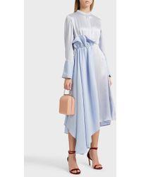 ROKSANDA - Micah Side Ruffle Silk Dress, Size Uk8, Women, Blue - Lyst