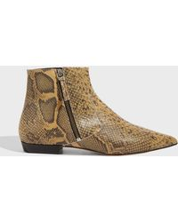 Isabel Marant - Dawie Snake-effect Leather Ankle Boots - Lyst
