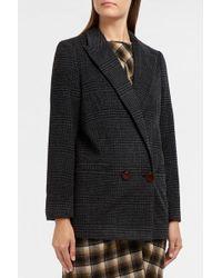 Ganni - Woodside Checked Wool-blend Blazer - Lyst
