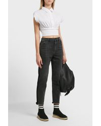 T By Alexander Wang - Cropped Cotton Shirt - Lyst