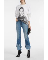 R13 Cropped Distressed Flared Jeans
