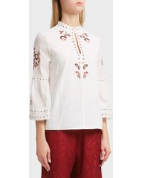 Vilshenko - Niamh Floral Detail Cotton Top - Lyst