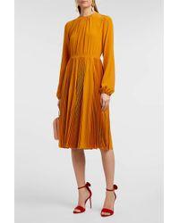 Rochas - Lace-trimmed Silk Crepe De Chine Dress - Lyst