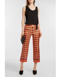 For Restless Sleepers - Ceo Printed Silk-twill Straight-leg Trousers - Lyst