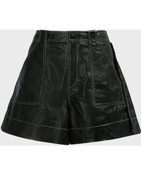 Ganni High-waist Leather Shorts