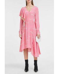 Natasha Zinko - Asymmetric Frill Silk Dress - Lyst