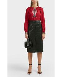 Vilshenko - Skye Leather Midi Skirt - Lyst