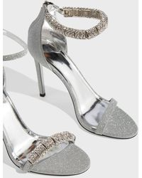 CALVIN KLEIN 205W39NYC - Glittered Leather Sandals, It36 - Lyst