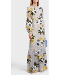Erdem - Ora Floral Print Silk Gown, Size Uk14, Women, Blue - Lyst