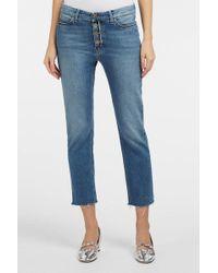 M.i.h Jeans - Niki Cropped Frayed Slim-leg Jeans - Lyst