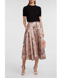 Rochas - Floral-print Satin-twill Skirt - Lyst