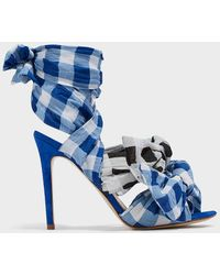 Natasha Zinko - Gingham Cotton And Suede Sandals - Lyst
