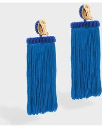 Oscar de la Renta - Long Silk Waterfall Tassel Earrings, Os - Lyst