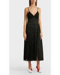 3.1 Phillip Lim - Pleated Satin, Cotton And Crepe Midi Dress, Us2 - Lyst