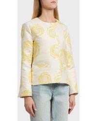 Ganni - Turenne Rose Print Jacket, Size Fr36, Women, Ivory - Lyst