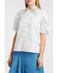 Erdem - Ria Embellished Embroidered Cotton-poplin Blouse, Uk8 - Lyst