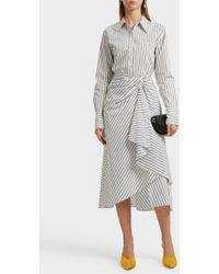 A.L.C. - Diller Draped Striped Cotton Midi Skirt - Lyst