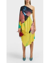 Adam Selman - Printed Asymmetric One Shoulder Dress - Lyst
