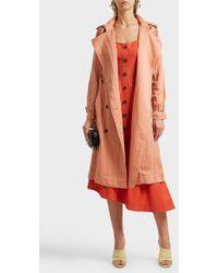 10 Crosby Derek Lam - Belted Trench Coat, Size Us2, Women, Pink - Lyst