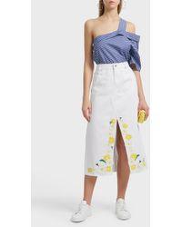 SJYP - Frayed Embroidered Denim Skirt - Lyst