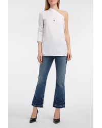Helmut Lang - One-shoulder Cotton-poplin Shirt - Lyst