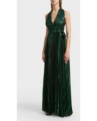 Elie Saab - Pleated Silk-blend Maxi Dress, Size Fr38, Women, Blue - Lyst