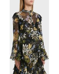 Erdem - Wanda Floral Print Silk Blouse, Size Uk10, Women, Black - Lyst