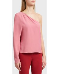 Theory - One-shoulder Blouse, Size Xs, Women, Pink - Lyst