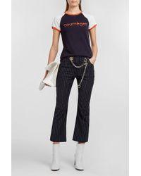 Courreges - Printed Cotton-jersey T-shirt, Size 2, Women, Blue - Lyst