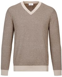 Brioni - Camel And Brown Herringbone V Neck Sweater - Lyst