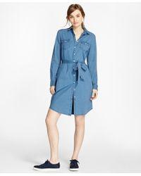 Brooks Brothers | Cotton Chambray Shirt Dress | Lyst