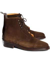 245964f066c Lyst - Brooks Brothers Leather Perforated Contrast Boots in Brown ...
