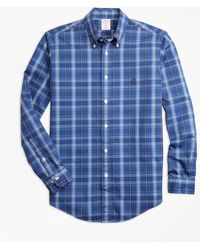 Brooks Brothers - Non-iron Madison Fit Blue Plaid Sport Shirt - Lyst