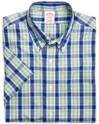 Brooks Brothers - Supima® Cotton Non-iron Regular Fit Blue With Yellow Plaid Short-sleeve Sport Shirt - Lyst