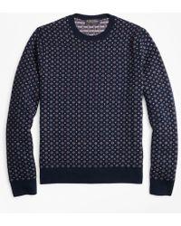 Brooks Brothers - Merino Wool Foulard Jacquard Crewneck Sweater - Lyst