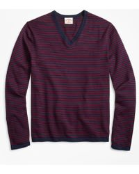 Brooks Brothers - Striped Cotton V-neck Sweater - Lyst