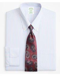 Brooks Brothers - Milano Slim-fit Dress Shirt, Non-iron Split Alternating Stripe - Lyst