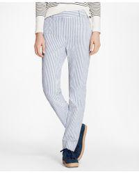 Brooks Brothers - Striped Stretch Cotton Seersucker Pants - Lyst