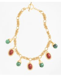Brooks Brothers - Poppy Jasper Scarab Charm Necklace - Lyst